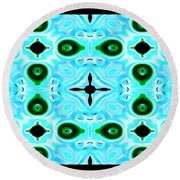Peacock Feathers Abstract Round Beach Towel