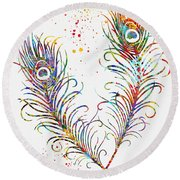 Peacock Feathers-colorful Round Beach Towel