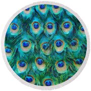 Peacock Feathers Round Beach Towel by Nikki Marie Smith