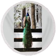 Peacock In The Snow Round Beach Towel