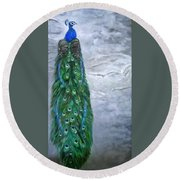 Peacock In Winter Round Beach Towel