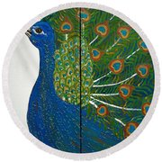 Peacock Iv Round Beach Towel