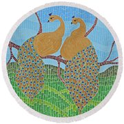 Peacock Love Round Beach Towel