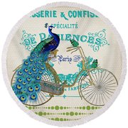 Peacock On Bicycle-jp3608 Round Beach Towel