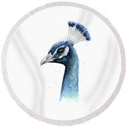 Peacock Watercolor Round Beach Towel