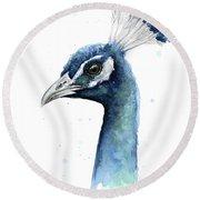 Peacock Watercolor Round Beach Towel