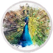 Peacock Watercolor Painting Round Beach Towel