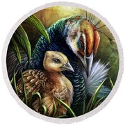 Peahen And Chick Round Beach Towel