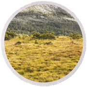 Peaks And Plateaus Round Beach Towel