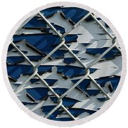 Pealing Paint Fence Abstract 1 Round Beach Towel