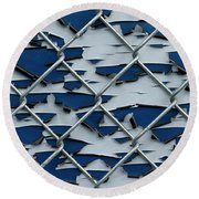 Pealing Paint Fence Abstract 2 Round Beach Towel