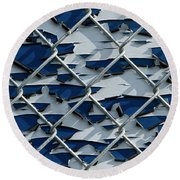 Pealing Paint Fence Abstract 3 Round Beach Towel