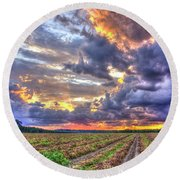 Peanuts, Clouds And Sun Round Beach Towel