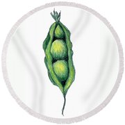 Peapod Round Beach Towel
