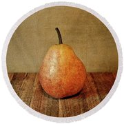 Pear On Cutting Board 1.0 Round Beach Towel