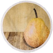 Pear On Cutting Board 2.0 Round Beach Towel
