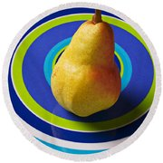 Pear On Plate With Circles Round Beach Towel