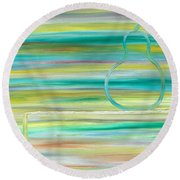 Pear On Table Round Beach Towel