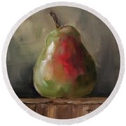 Pear On Wooden Crate Round Beach Towel