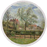 Pear Trees And Flowers At Eragny Round Beach Towel by Camille Pissarro