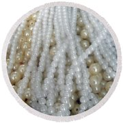 Pearl Beads - White And Beige Round Beach Towel