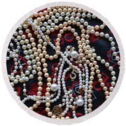 Pearls 3 Round Beach Towel