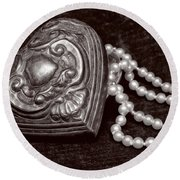 Pearls From The Heart - Sepia Round Beach Towel