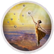 Pearls Of Heaven Round Beach Towel