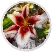 Pearly Petals Satin Leaves Round Beach Towel