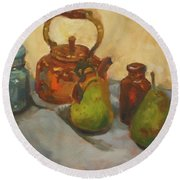 Pears With Copper Kettle Round Beach Towel