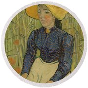 Peasant Girl In Straw Hat Round Beach Towel