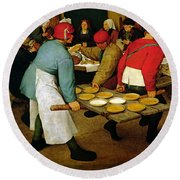 Peasant Wedding Round Beach Towel by Pieter the Elder Bruegel