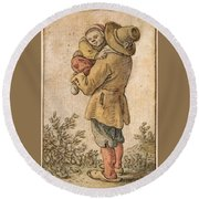 Peasant With Child Round Beach Towel