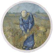 Peasant Woman Binding Sheaves After Millet Saint Remy De Provence  September 1889 Vincent Van Gogh Round Beach Towel