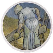 Peasant Woman Bruising Flax After Millet Saint Remy De Provence September 1889 Vincent Van Gogh  Round Beach Towel