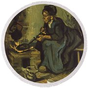 Peasant Woman Cooking By A Fireplace Round Beach Towel