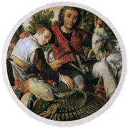 Peasants At The Market Round Beach Towel