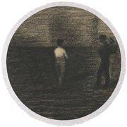 Peasants Round Beach Towel by Georges-Pierre Seurat