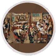 Peasants Paying Tithes By Pieter Bruegel I Round Beach Towel