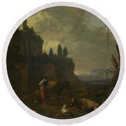 Peasants With Cattle By A Ruin Round Beach Towel
