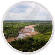 Pease On The River Round Beach Towel