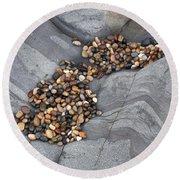 Pebble Beach Rocks 8787 Round Beach Towel