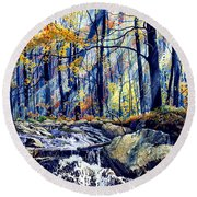 Pebble Creek Autumn Round Beach Towel