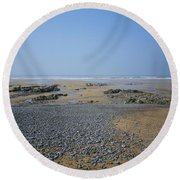 Pebble Strewn Beach Round Beach Towel