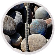 Pebbles And Cable Round Beach Towel
