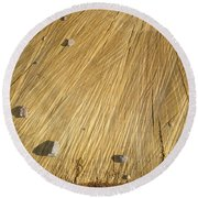 Pebbles And Texture On A Crosscut Log Round Beach Towel