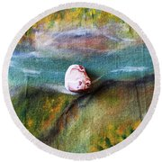 Pebbles At  The Stream Round Beach Towel by Augusta Stylianou