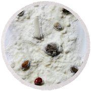 Pebbles In Snow Round Beach Towel by Augusta Stylianou