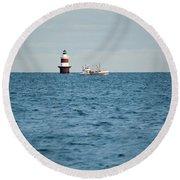 Peck Ledge Lighthouse Round Beach Towel
