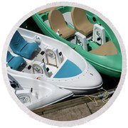 Pedal Boats Round Beach Towel